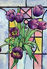Tulips and a Stained Glass Window by Ann Mortimer