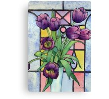 Tulips and a Stained Glass Window Canvas Print