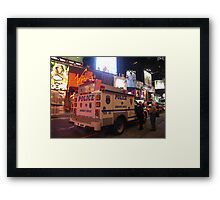 NYPD Vehicle on Broadway at Night - Manhattan Framed Print