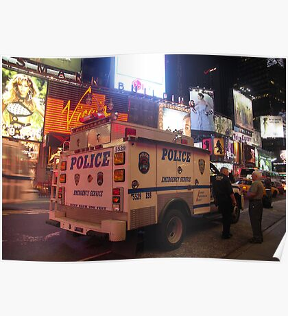 NYPD Vehicle on Broadway at Night - Manhattan Poster