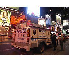 NYPD Vehicle on Broadway at Night - Manhattan Photographic Print