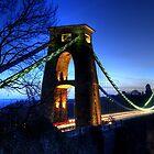 Blue Hour Suspension Bridge by Kevin Cotterell