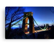 Blue Hour Suspension Bridge Canvas Print