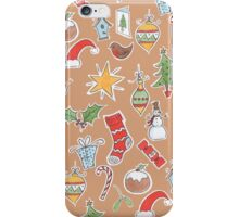 Christmas Icons on Kraft iPhone Case/Skin