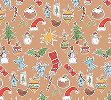 Christmas Icons on Kraft by lizblackdowding