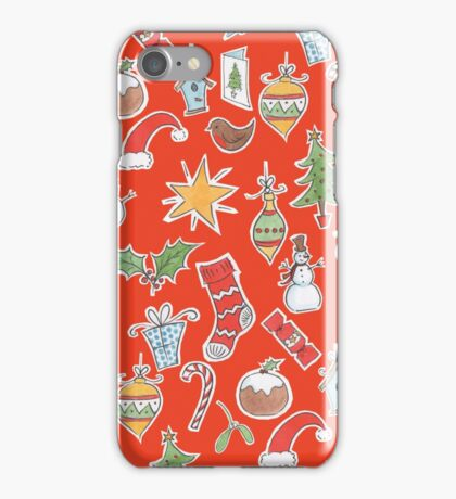 Christmas Icons on Red iPhone Case/Skin