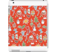 Christmas Icons on Red iPad Case/Skin