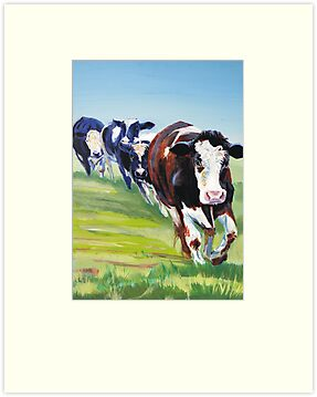 Morning Walk - Acrylic Painting of Four Cows walking by MikeJory