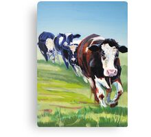 Morning Walk - Acrylic Painting of Four Cows walking Canvas Print