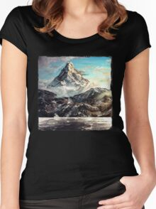The Lonely Mountain Painting Women's Fitted Scoop T-Shirt