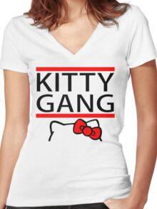 Kitty Gang Women's Fitted V-Neck T-Shirt