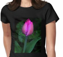 Pink Tulip Bud Womens Fitted T-Shirt