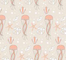 Seamless pattern with underwater scene by BlueLela