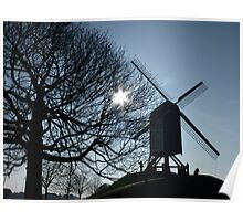 Windmill on a hill Poster