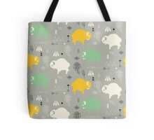 Seamless pattern with cute baby buffaloes and native American symbols Tote Bag