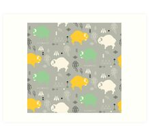Seamless pattern with cute baby buffaloes and native American symbols Art Print