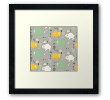 Seamless pattern with cute baby buffaloes and native American symbols Framed Print