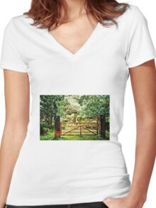 From Beyond The Fence Women's Fitted V-Neck T-Shirt