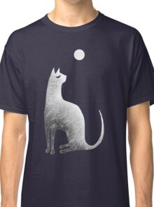 Ghost Cat and Moon in black and white Classic T-Shirt