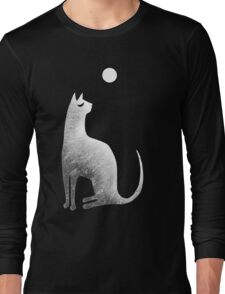 Ghost Cat and Moon in black and white Long Sleeve T-Shirt