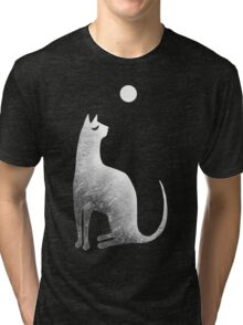 Ghost Cat and Moon in black and white Tri-blend T-Shirt