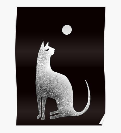 Ghost Cat and Moon in black and white Poster