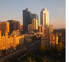 Spring Street drenched with sunshine, Melb, Vic, Australia by Margaret Morgan (Watkins)