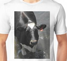 Why are you taking my picture silly man? MOOOOOOO! Unisex T-Shirt