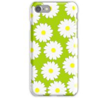Daisy pattern on green background iPhone Case/Skin