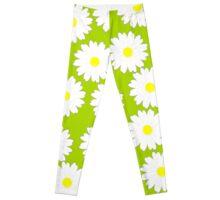 Daisy pattern on green background Leggings