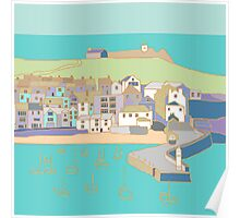 St Ives harbour in purple and blue Poster