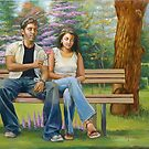 Lovers on a bench by Dominique Amendola
