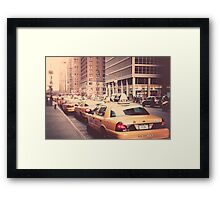 A Row of New York Cabs. Framed Print
