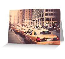 A Row of New York Cabs. Greeting Card