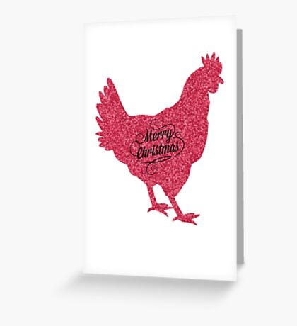 Merry Christmas Chicken Red Glittter Greeting Card