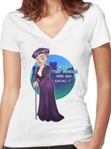 Violet Crawley, the Dowager Countess of Grantham Women's Fitted V-Neck T-Shirt