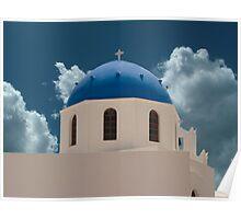 Santorini Greece Church Poster