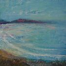 view across to the cornish headland by Jenny Urquhart