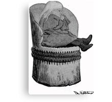 Theodor Kittelsen Unknown portrait of girl Ingrid in hollow log chair Canvas Print