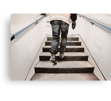 Worker on stairs Canvas Print