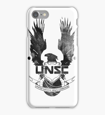 Halo UNSC Faded Watercolor Print Black on White iPhone Case/Skin