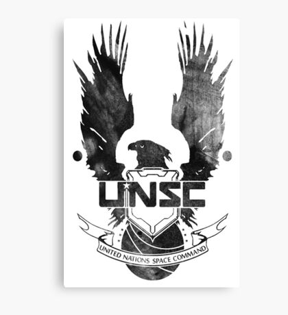 Halo UNSC Faded Watercolor Print Black on White Canvas Print