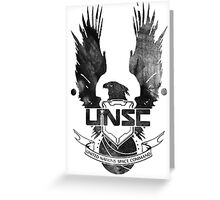 Halo UNSC Faded Watercolor Print Black on White Greeting Card