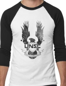 Halo UNSC Faded Watercolor Print Black on White Men's Baseball ¾ T-Shirt