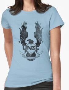 Halo UNSC Faded Watercolor Print Black on White Womens Fitted T-Shirt