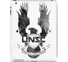 Halo UNSC Faded Watercolor Print Black on White iPad Case/Skin