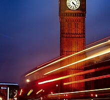 A London Bus Forming Light Trials At Big Ben, Westminster. by miradorpictures