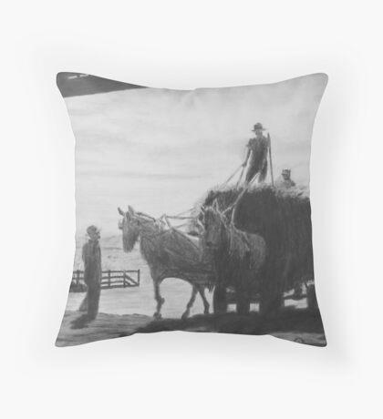 Hay wagon entering barn Throw Pillow