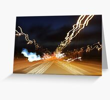 Car light trails at night Greeting Card
