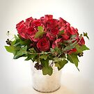 Bridal Wedding Bouquet of Red Roses by Camille Wesser